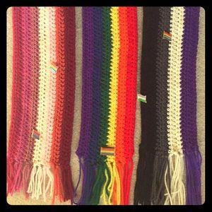 Handmade Crochet Queer LGBTQ+ Pride Flag Scarves
